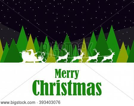 Merry Christmas. Santa Claus In A Sleigh With Reindeer And Winter Landscape With Fir Trees And Falli