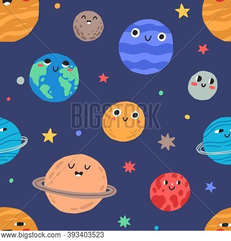 Seamless Pattern With Cute Childish Planets With Funny Faces And Stars In Space. Repeatable Backgrou