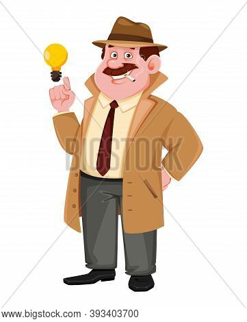 Stock Vector Detective Character Having A Brilliant Idea. Investigator Cartoon Character. Vector Ill