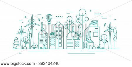 Modern Environmentally Friendly City With Ecological Infrastructure, Roof Greening, Solar Panels And
