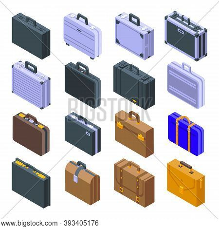 Briefcase Icons Set. Isometric Set Of Briefcase Vector Icons For Web Design Isolated On White Backgr