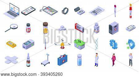 Telemedicine Icons Set. Isometric Set Of Telemedicine Vector Icons For Web Design Isolated On White