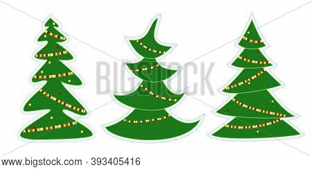 Set Of Three Cartoon Christmas Trees. Xmas Tree Decorated With A Garland And Balls. Collection Of Gi