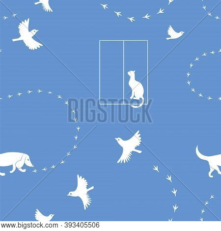 Dog, Cat, Sparrow, Birds Trail. Vector Pattern Silhouette.