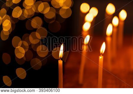 Beautiful Candles Lit During Diwali Festival Creating Light Bokeh Background, Decorated On Dhanteras