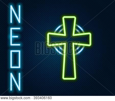 Glowing Neon Line Tombstone With Cross Icon Isolated On Black Background. Grave Icon. Colorful Outli