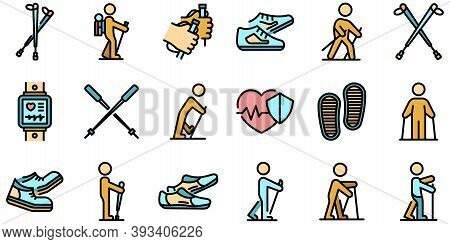 Nordic Walking Icons Set. Outline Set Of Nordic Walking Vector Icons Thin Line Color Flat On White