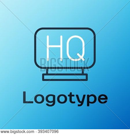 Line Military Headquarters Icon Isolated On Blue Background. Colorful Outline Concept. Vector