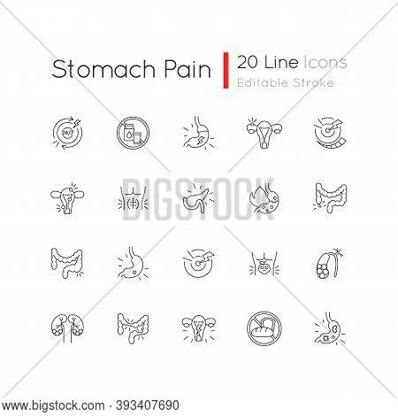 Stomach Pain Linear Icons Set. Digestive Disorders. Indigestion. Chronic Abdominal Pain. Pancreatiti