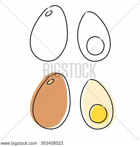 Vector Eggs In Doodle Style. Sketch. Isolated On White Background