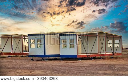 Prefabricated mobile homes used on construction sites in Botswana