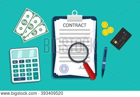 Contract Icon With Money, Calculator, Pen And Credit Card. Paper Document With Signature About Agree