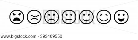 Face Icon. Smile And Sad Emoji. Happy And Bad Smiley For Feedback. Outline Emoticon Of Sentiment, Sa