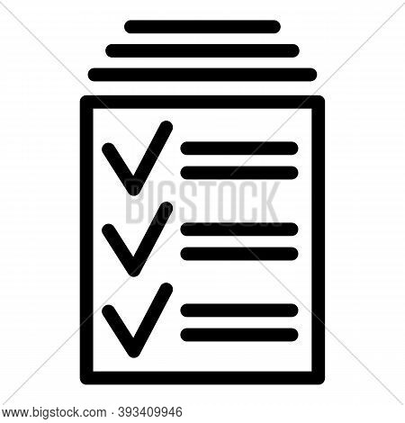 Done Papers Icon. Outline Done Papers Vector Icon For Web Design Isolated On White Background