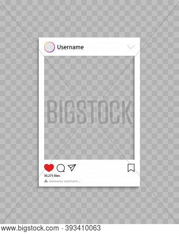 Frame For Social Post. Frame For Photo In Social Media.template Of Profile, Post And Message With In