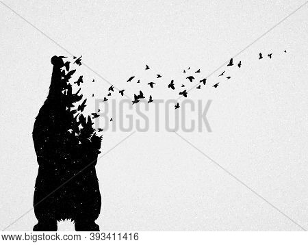 Polar Bear Mom And Child Silhouettes, Flying Birds. Endangered Animal Family. Life And Death. Wildli