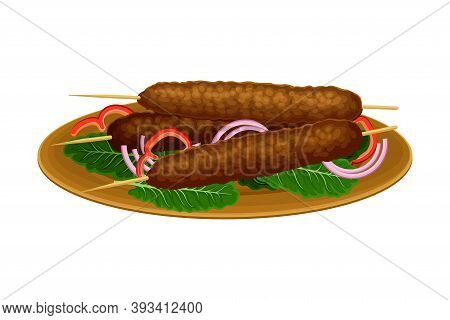 Skewered Kofta Or Meatloaf Rested On Plate With Green Vegetables And Onion As Egyptian Dish Vector I
