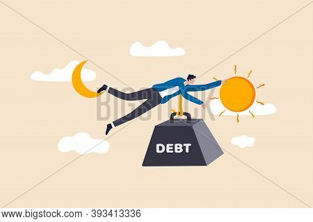 Debt Crisis For Salary Man, Working Hard Day Until Night Making Money To Pay For Debt Of Overspendin