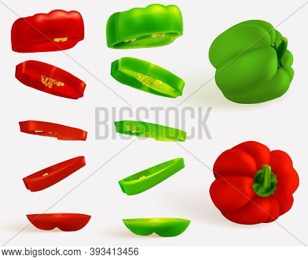 Hungarian Pepper, Realistic Sweet Papper. Capsicum Habanero Colorful Paprika Isolated On Light Backg