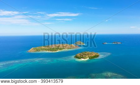 Tropical Landscape: Islands With Beautiful Sandy Beaches By Turquoise Water View From Above. Zamboan