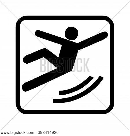 Caution Slippery Floor Surface Sign With A White Background