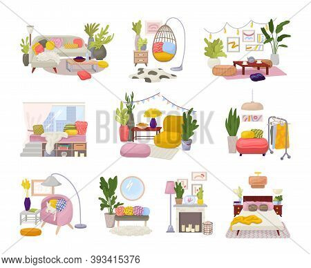Hygge Interiors Collection With Stylish Comfy Furniture And Scandinavian Home Decorations Vector Ill