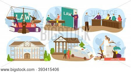 Law And Justice Design Set Of Vector Illustrations. Judgment Court, House Of Justice, Trial By Jury,