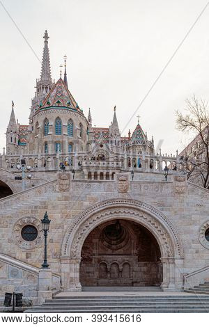Budapest, Hungary - March 27, 2018: Fishermen Bastion. Conical towers from Castle Hill, are an allusion to the tribal tents of the early Magyars
