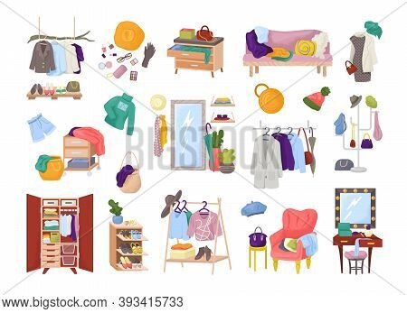 Clothes In Wardrobe Room, Closet Of Fashion Dress, Set Of Isolated Vector Illustrations. Furniture W