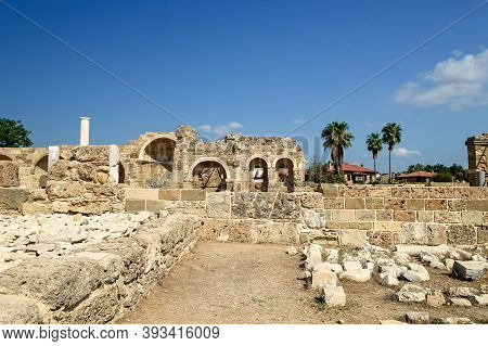Old Ruins In Side, Ancient City-background Of Archeology.