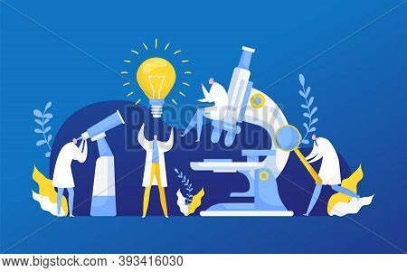 Idea Discovery Research In Chemistry, Biology Or Medicine Vector Illustration. Light Bulb Of New Ide