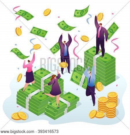Winning Money People, Businesspeople Win And Catching Dollars And Gold Coins Under Money Rain Vector