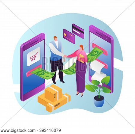 Online Money Transaction, Internet Banking And Mobile Payments Using Smartphone Flat Vector Illustra