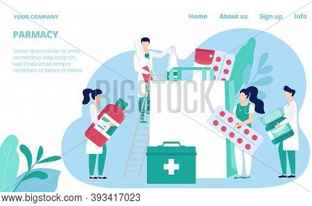 Pharmacy Store Website Template, Vector Illustration. Pharmacists, Druggists With Medicines And Drug
