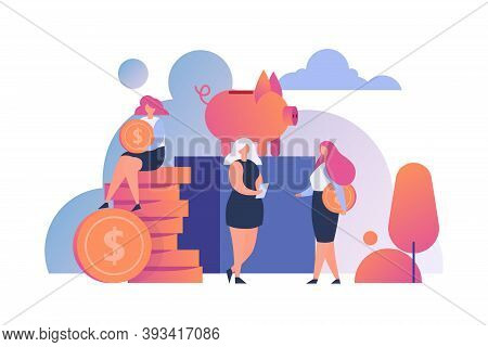 Money Saving People Flat Vector Illustration. Golden Coins Putting Into Piggy Bank. Save Money, Inve