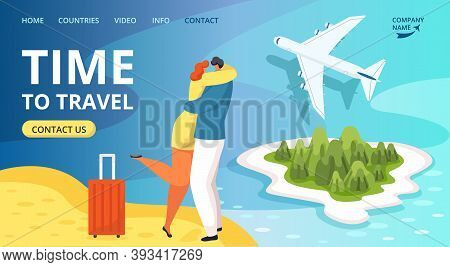 Time To Travel Website Template With Happy Travelers People And Plane, Tourism Vector Illustration.