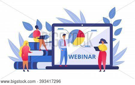 Webinar, People On Online Conference, Business Man Working In Office, Education On Internet, E-learn