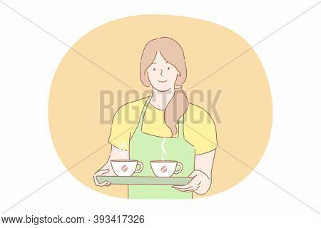 Coffee Shop, Service, Advertising Concept. Young Smiling Woman Girl Barista Waitress In Apron Holdin