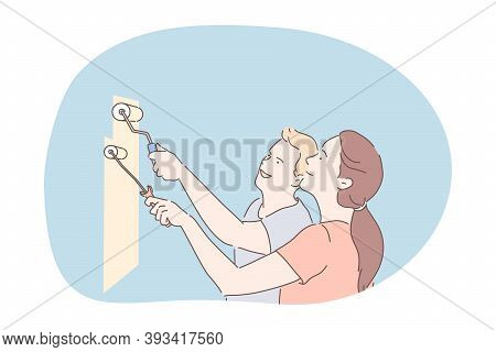 Renovation, Decorating Interior, Colouring Walls Concept. Happy Young Couple Cartoon Characters Stan