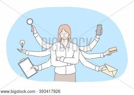 Multitasking, Business Efficiency, Management, Concept. Effective Executive Businesswoman Profession