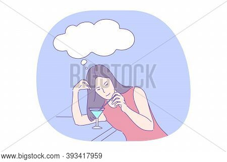 Alcohol Cocktail, Drinking In Nightclub Or Bar, Thinking During Drink Concept. Young Pretty Woman In
