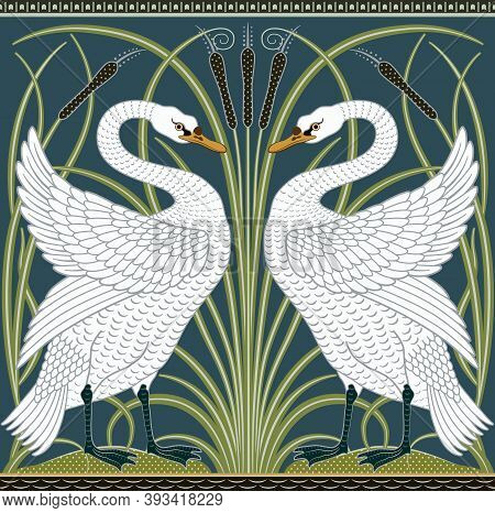White Swan Decorative Border Pattern On Dark Green Background. Middle Ages Style. Vector Illustratio