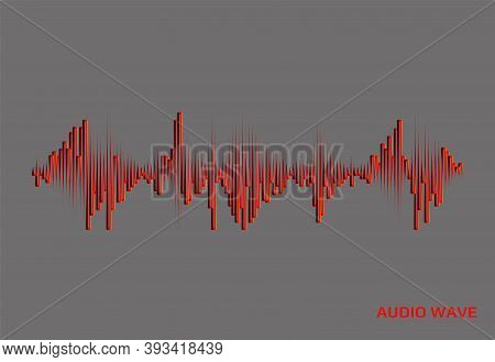 Red Music Wave Logo On Grey Background. Digital Audio Concept. Vector Colorful Pulse Equalizer Illus