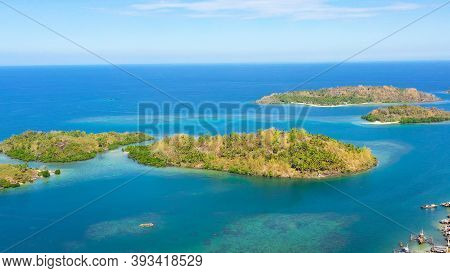 Tropical Island With Sandy Beach On The Zamboanga Peninsula. Sallangan Islands, Simoadang Island. Mi