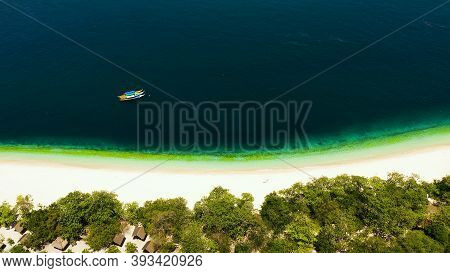 Aerial Drone Of Sandy Beach On A Tropical Island. Great Santa Cruz Island. Zamboanga, Mindanao, Phil