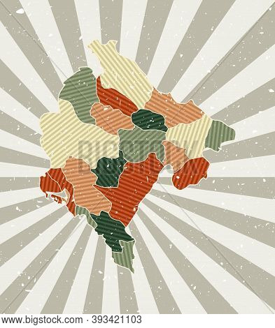 Montenegro Vintage Map. Grunge Poster With Map Of The Country In Retro Color Palette. Shape Of Monte