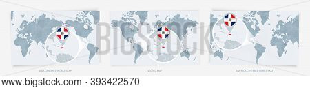 Three Versions Of The World Map With The Enlarged Map Of Dominican Republic With Flag. Europe, Asia,