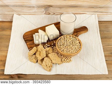 Soy Foods Collection With Soy Meat, Soybeans, Soy Milk And Tofu