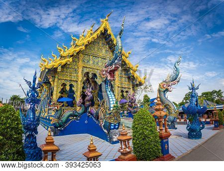 Wat Rong Seur Ten Or Blue Temple Is A Famous Temple And Is A Major Tourist Attraction Of Chiang Rai
