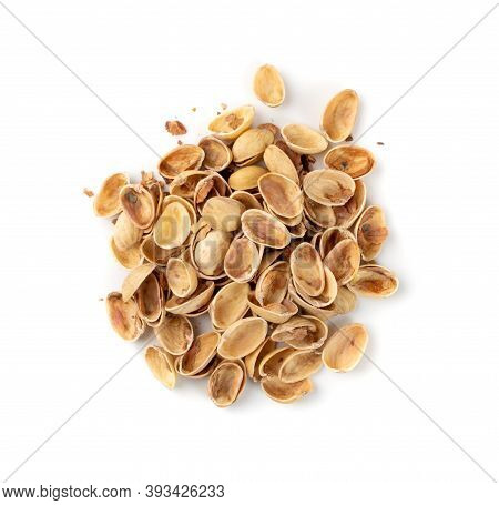 Pile Of Pistachios Husks Isolated On White Background